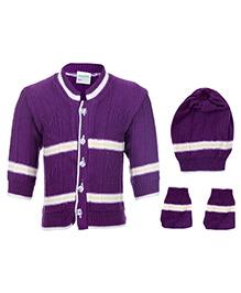 Babyhug Winter Wear Set Dark Purple - Pack Of 3
