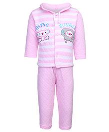 Babyhug Full Sleeve Hooded T-Shirt And Legging Set - Embroidered