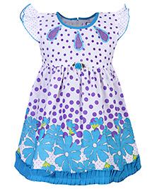 Babyhug Flutter Sleeve Frock - Floral And Polka Dots