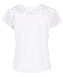 Palm Tree Cap Sleeve Top With Net Detailing - White