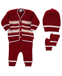 Babyhug Front Open Winter Wear Set Red - Pack Of 4