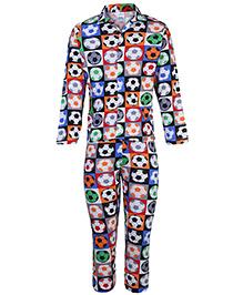 Ollypop Full Sleeves Nightsuit - Football Print
