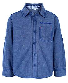 Beebay Full Sleeeves Slub Chambray Shirt - Blue