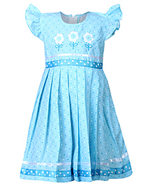 Babyhug Cap Sleeves Frock Blue - Floral Embroidery