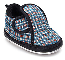 Littles Musical Baby Booties - Check Print