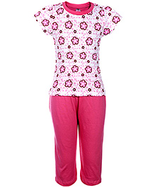 Paaple Short Sleeves Night Suit Pink - Floral