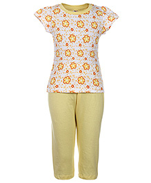Paaple Short Sleeves Night Suit Yellow - Floral