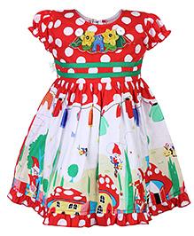 Babyhug Frock Polka Dots Print - Short Sleeve