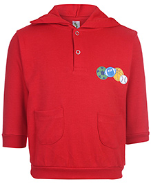 Cucumber Hooded Sweatshirt Full Sleeves Red - Sports Ball Print