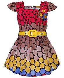 Babyhug Circle Print Frock With Belt - Short Sleeves
