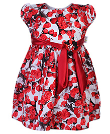 Babyhug Rose Print Frock Short Sleeves - Motif of Waistband