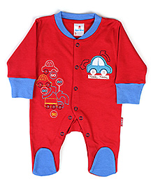 Child World Full Sleeves Footed Romper Car Print - Red