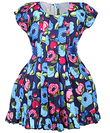 Babyhug Short Sleeves Frock With Tie Up Belt - Floral Print