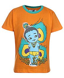 Little Krishna Half Sleeves T-Shirt Graphic Print - Orange
