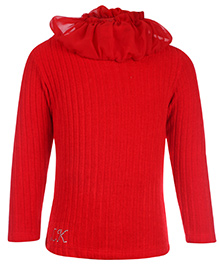 Little Kangaroos Full Sleeve Sweater With Ruffled Neck