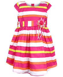 Babyhug Short Sleeves Frock - Stripe Pattern