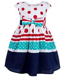 Babyhug Short Sleeves Frock - Polka Dots