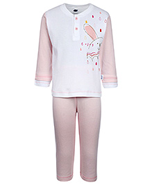 Teddy Full Sleeves T-Shirt And Legging - Pink