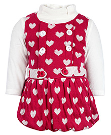 Little Kangaroo Woolen Frock With Inner - Heart Intarsia
