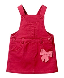 Beebay Dungaree With Bow Applique - Maroon