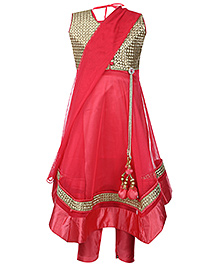 Babyhug Kurta And Churidar With Dupatta Red - Golden Work