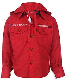 Noddy Original Clothing Hooded Shirt Full Sleeve - Red