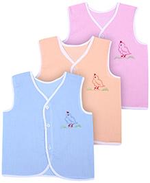 Babyhug Sleeveless Vest Bird Embroidery - Set Of 3