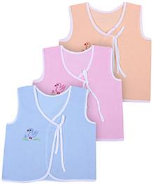 Babyhug Sleeveless Vests Bird Embroidery - Set Of 3