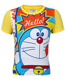Doraemon Printed T-Shirt Half Sleeve - Yellow