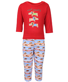 Cucumber Full Sleeves T-Shirt And Legging - Red