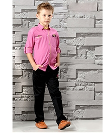 Active Kids Wear Full Sleeves Shirt And Trouser Set - Embroidery