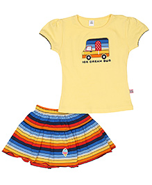 ToffyHouse Top And Skirt Set - Ice Cream Bus Print - 12 To 18 Months