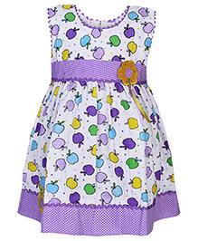 Babyhug Sleeveless Frock Apple Print - Purple