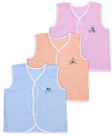 Babyhug Sleeveless Vests Flower Embroidery - Set Of 3