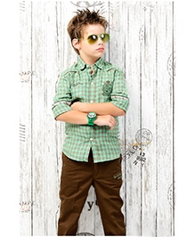 Active Kids Wear Full Sleeves Shirt And Trouser Set - Check Pattern
