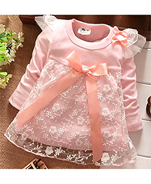 Shu Sam & Smith Apricot Pink Net Floral Dress - Pink