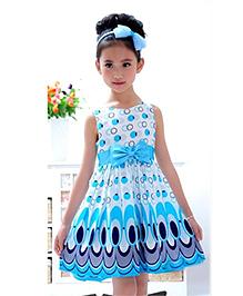 Classic Sky Blue Circle Printed Dress