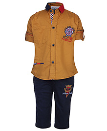 Active Kids Wear Full Sleeves Shirt And Capri Set - Embroidery