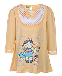 Babyhug Knitted Girl Print Frock - Full Sleeve