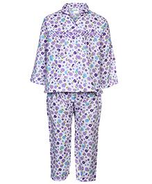 Babyhug Full Sleeve Night Suit - Floral Print