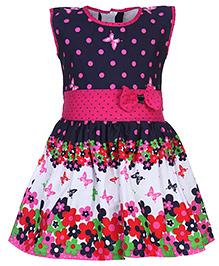 Babyhug Sleeveless Frock - Floral And Dots Print