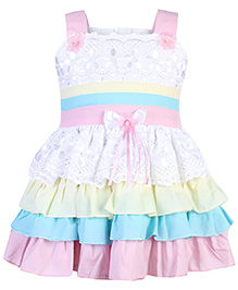 Babyhug Singlet Frock Bow Applique - Frill Layered Pattern