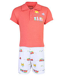 Babyhug Half Sleeves T-Shirt And Shorts Set - Funny Little Train Print