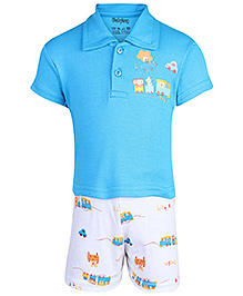 Babyhug Half Sleeves T-Shirt And Shorts Set - Funny Little Train Print