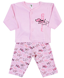 Cucumber Front Open T-Shirt And Leggings - Puppy Print