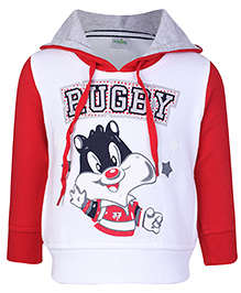 Babyhug Hooded Sweatshirt Full Sleeves - Rugby Print