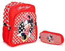 Minnie Mouse School Bag With Pouch - 16 Inches