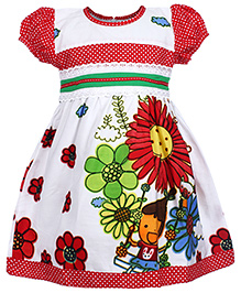 Babyhug Short Sleeves Frock - Flower Prints