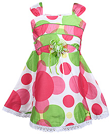 Babyhug Singlet Frock Floral Applique - Polka Dots Print