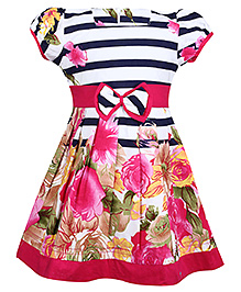 Babyhug Puff Sleeves Frock - Floral And Stripe Print